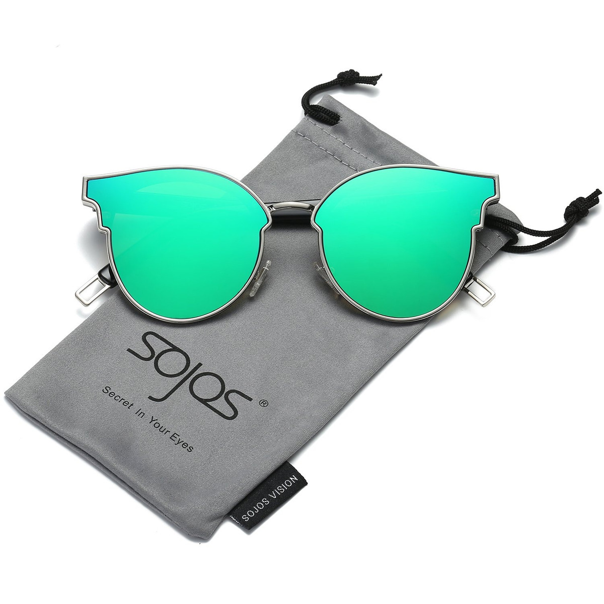 Sol Retro Verde Panto Neón Unisex Gafas Forma Sojos Modernas 34qjAc5RL