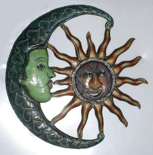sol con luna de metal pintado decoracion celestial arte 60cm