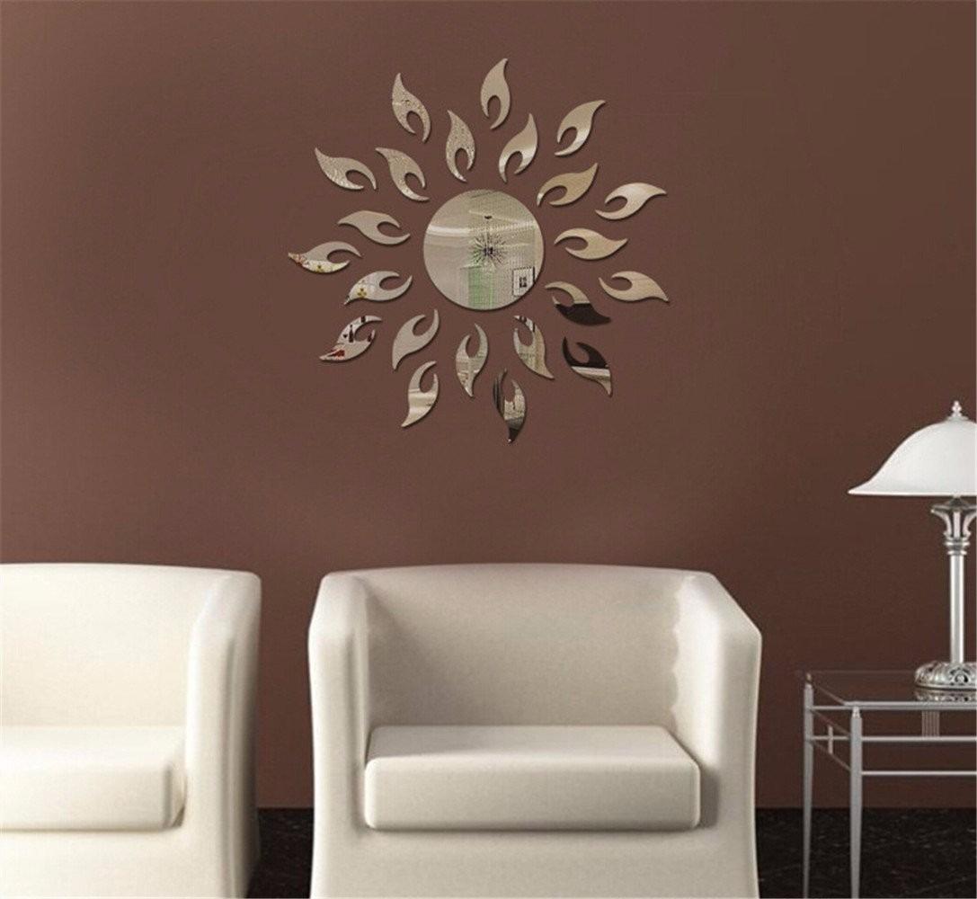 Sol decoracion acrilico estilo espejo 3d decoracion pared for Decoracion espejo pared