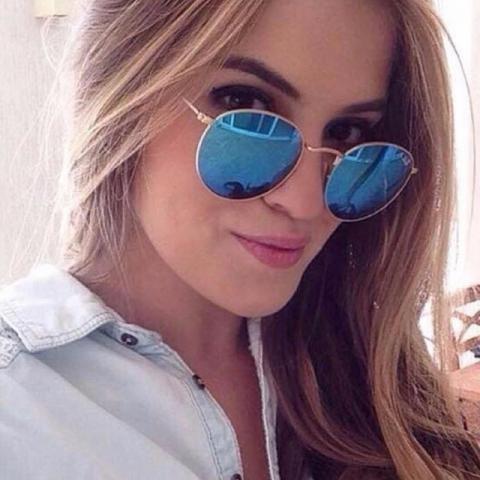 a2415d6a40b8d sol oculos oculos · oculos de sol round azul rb3447 oculos retrô redondo  unissex