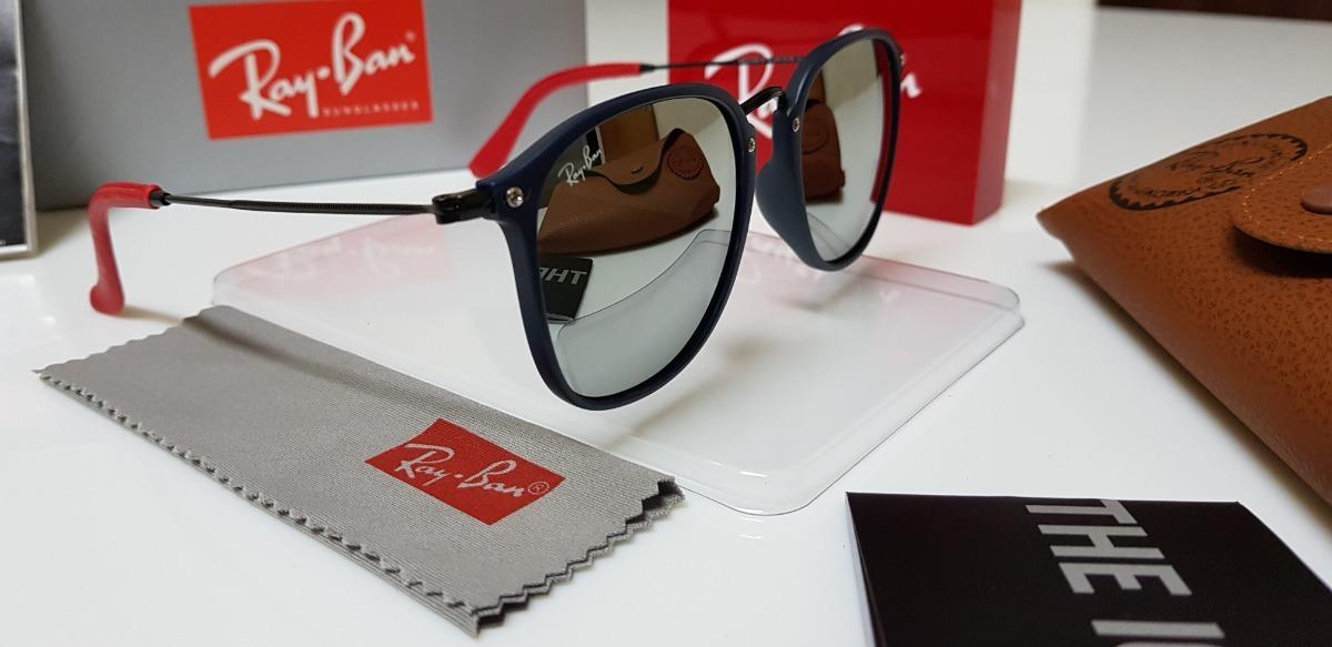 Carregando zoom... óculos de sol ray-ban scuderia ferrari rb2448 azul e  prata 8f0f1b6b4c