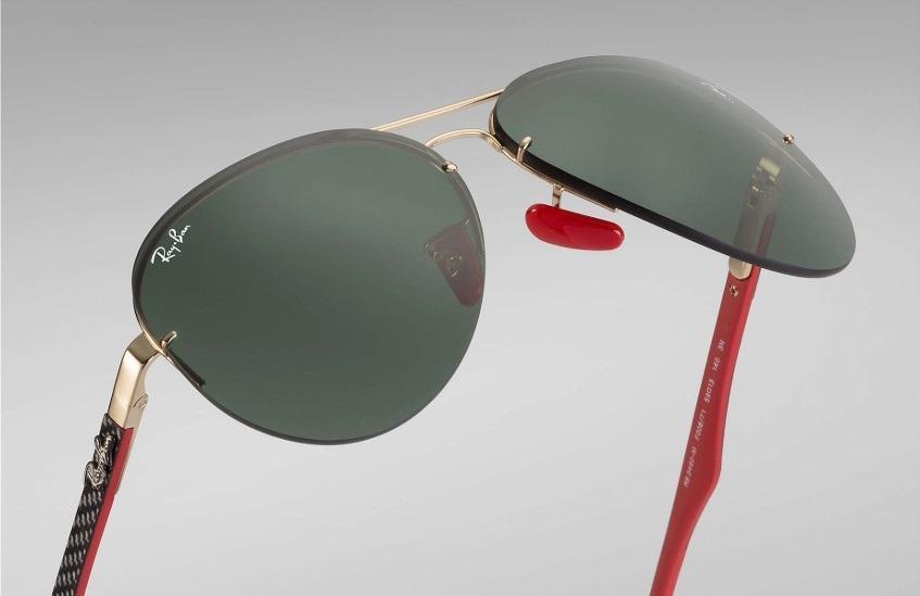 ae478423594e0 Óculos Sol Ray-ban Rb3460 M Aviador Flip Out Ferrari Lentes - R  369 ...