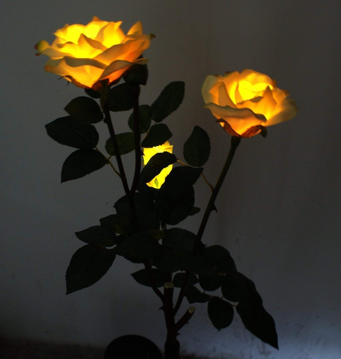 Solar Yellow Rose Flower Lights Led