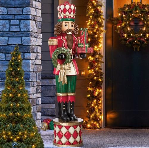 soldado cascanueces gigante 1.8m adorno de navidad c/ guirnaldas y regalos msi