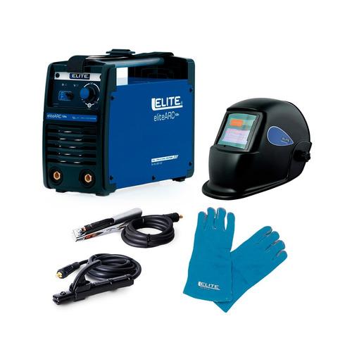 soldador elite 130 amp, careta para soldar y guantes