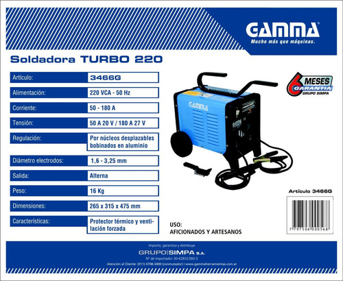 soldadora 220 turbo gama. oferta!
