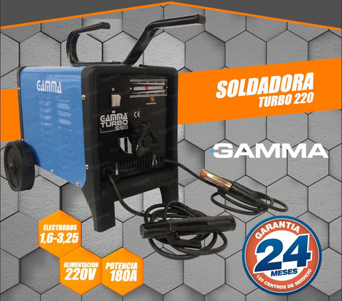 soldadora 50-180 amp 1,6 a 4 mm turbo 220 gamma black friday