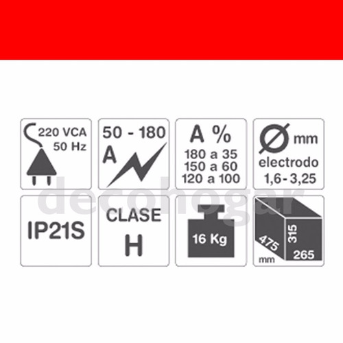soldadora 50-180 amp gamma 3466g electrodo 1,6 4mm turbo 220