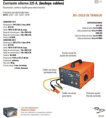 soldadora corriente alterna 225a
