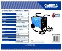 soldadora de arco para electrodo 3,25 marca gamma 220 turbo