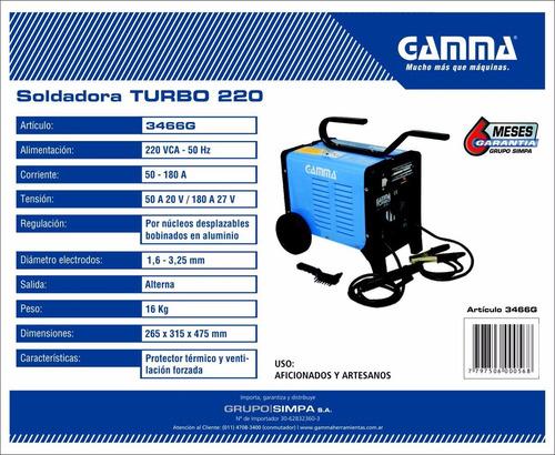 soldadora de arco para electrodo hasta 3,25 gamma 220 turbo