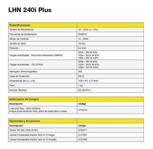 soldadora esab conarco inverter lhn 240i plus full