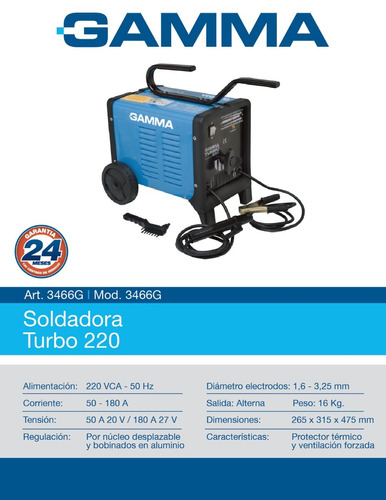 soldadora gamma eléctrica turbo 220 3466g 1,6-3,25mm
