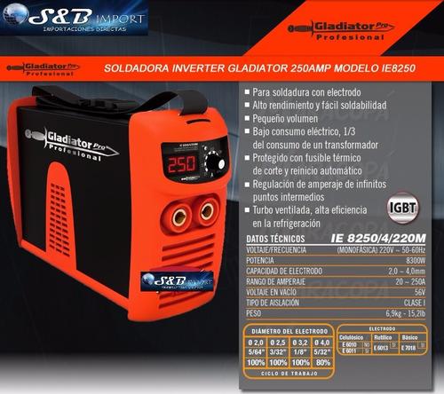 soldadora inverter 250 amperios gladiator ie 8250/4/220mk