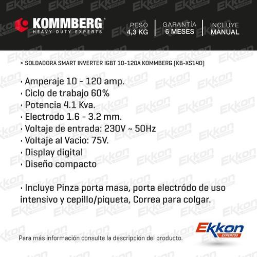 soldadora inverter igbt kommberg xs 140 electrodos soportes