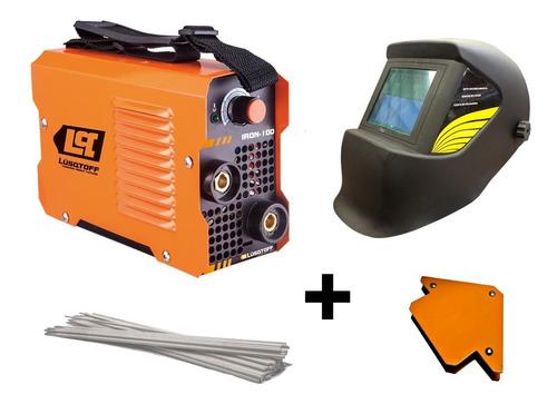 soldadora inverter iron 100 + mascara+electrodo+escuadra