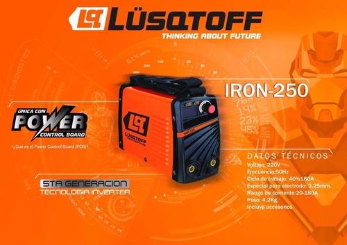 soldadora inverter iron 250 lusqtoff igbt 4 mm + 1 escuadra