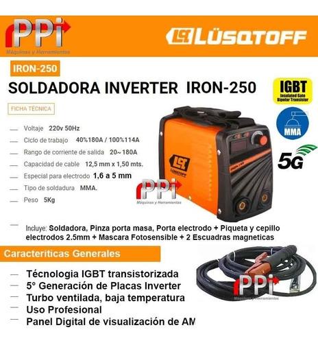 soldadora inverter iron 250 + mascara fotosensible st 2 escu