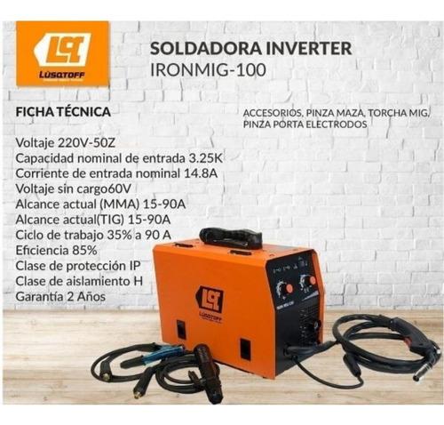 soldadora inverter iron mig 100 lusqtoff mma tig 90a