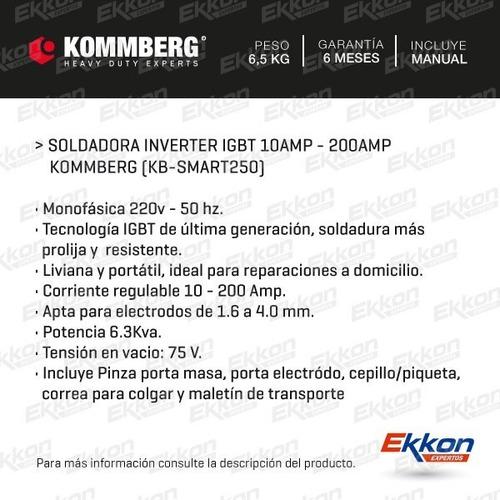 soldadora inverter kommberg 200 amp + mascara + sop + cuotas