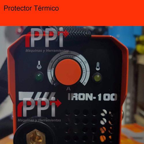 soldadora inverter lusqtoff iron 100 electrodo + 2 escuadras