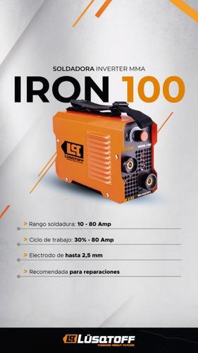 soldadora inverter mega iron 100 + mascar + escuadra lusqtof