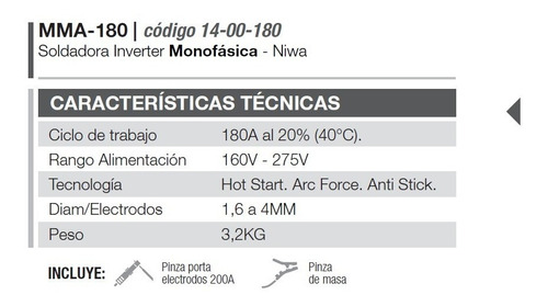 soldadora inverter monofasica niwa mma 180 ferreteriapacheco