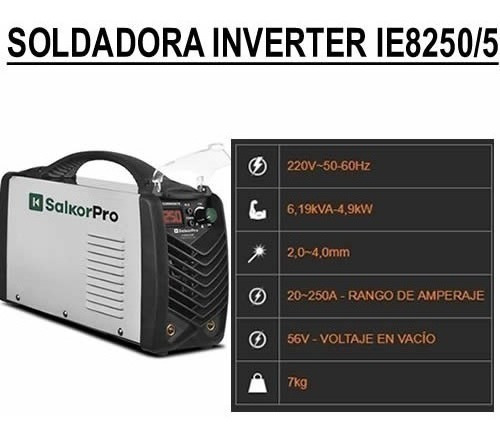 soldadora inverter salkor 250a ie8250 + mascara fotosensible