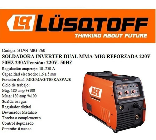soldadora inverter startig -200d lusqtoff + envio