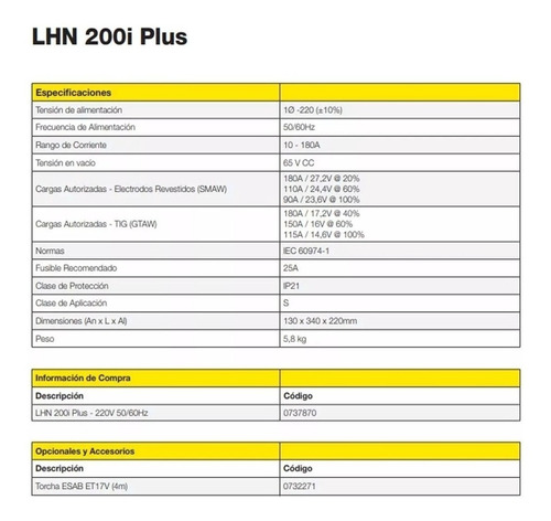 soldadora inverter tig dual conarco esab lhn 200i plus