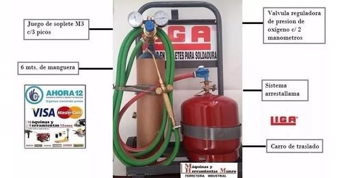 soldadora oxigas oxigeno 1 mt3 + gas de 3 kg refrigeracion