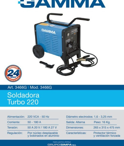 soldadora turbo 220 gamma 180amp