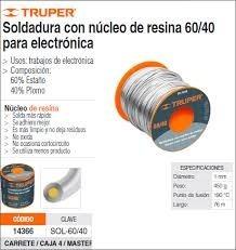 soldadura estaño  60/40 p/ electrónica truper sol-60/40.