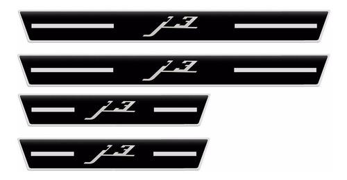 soleira j3 11 12 13 2014 2015 preto 4 peças resinado