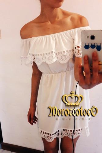 solero vestido strapples volado crochet importado art 8127