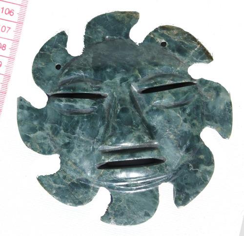 soles de inca tallado en piedra natural jade en ecuador 12cm