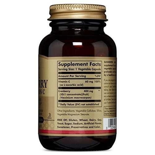 solgar natural cranberry with vitamin c - 60 capsules