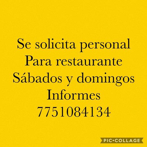solicito meseros para restaurante de barbacoa inf 7751084134