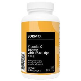 Solimo Vitamina C 500 Mg Con 5 Mg Rosa Mosqueta, 300 Caps