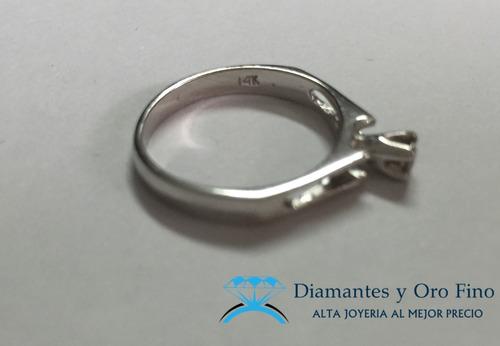 solitario anillo en oro blanco de 14 k con .10 ct diamante n