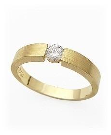 solitario de ouro 18k com diamante 0,10 cts