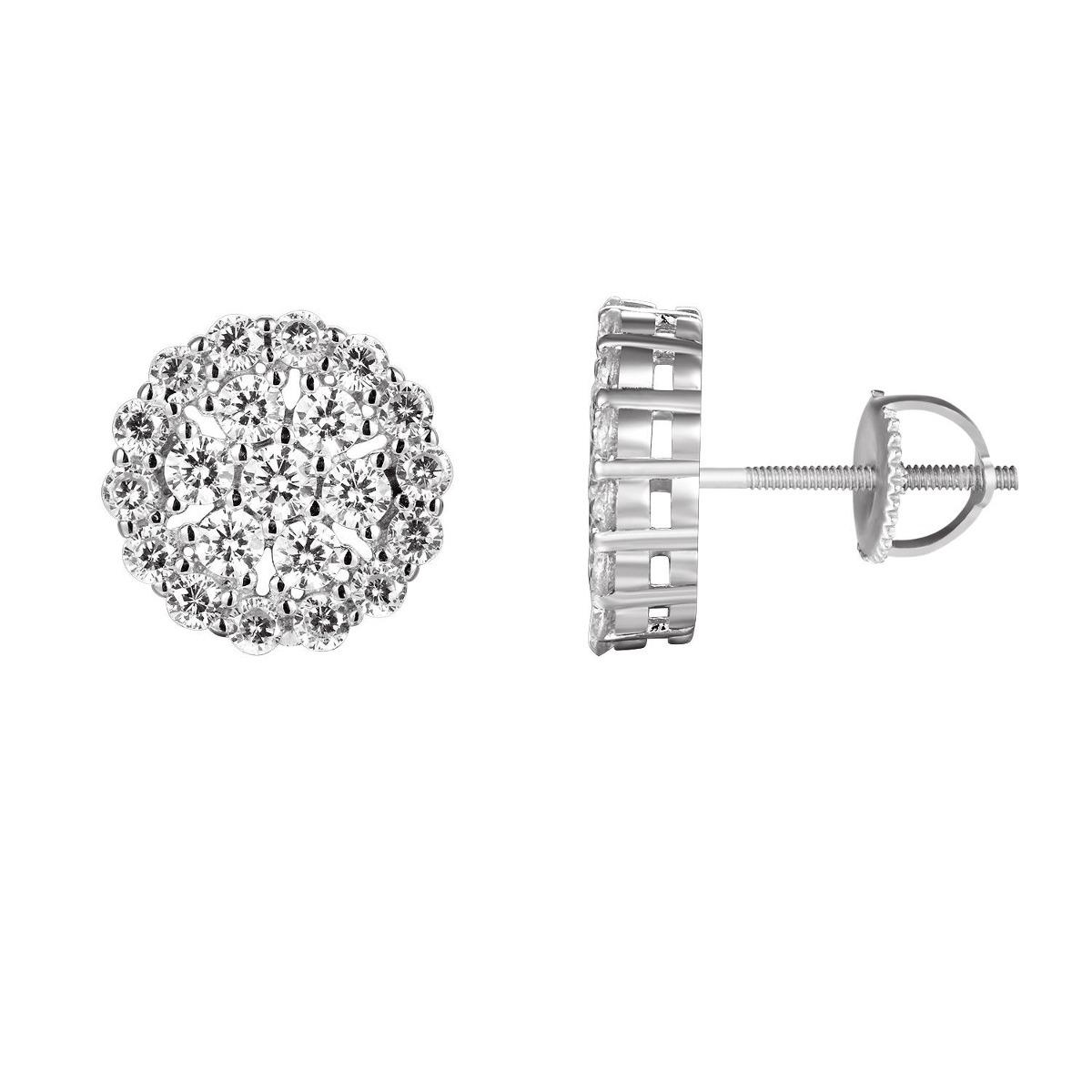 e69cf7c07311 solitario redondo cluster pendientes plata de ley diamantes. Cargando zoom.