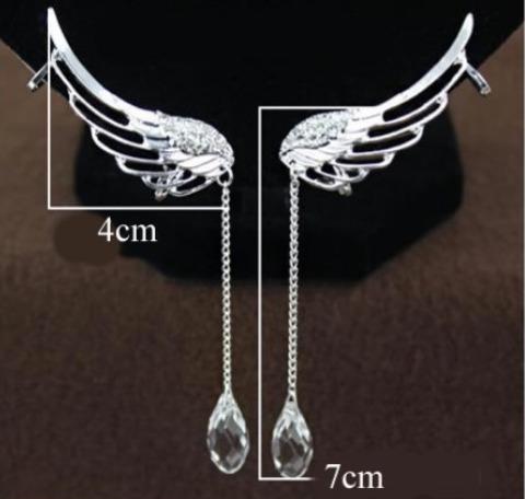 solitario trepador ear cuff pluma con pendiente como cristal