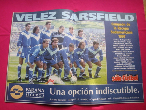 solo futbol n° 620 año 1997 poster: velez sarsfield, cai