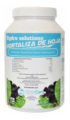 solución nutritiva hidroponía