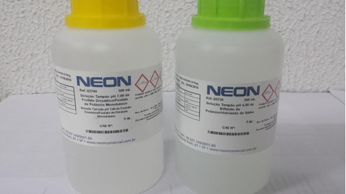 solução calibrar phmetro, kit 2 frascos ph 4 + ph 7