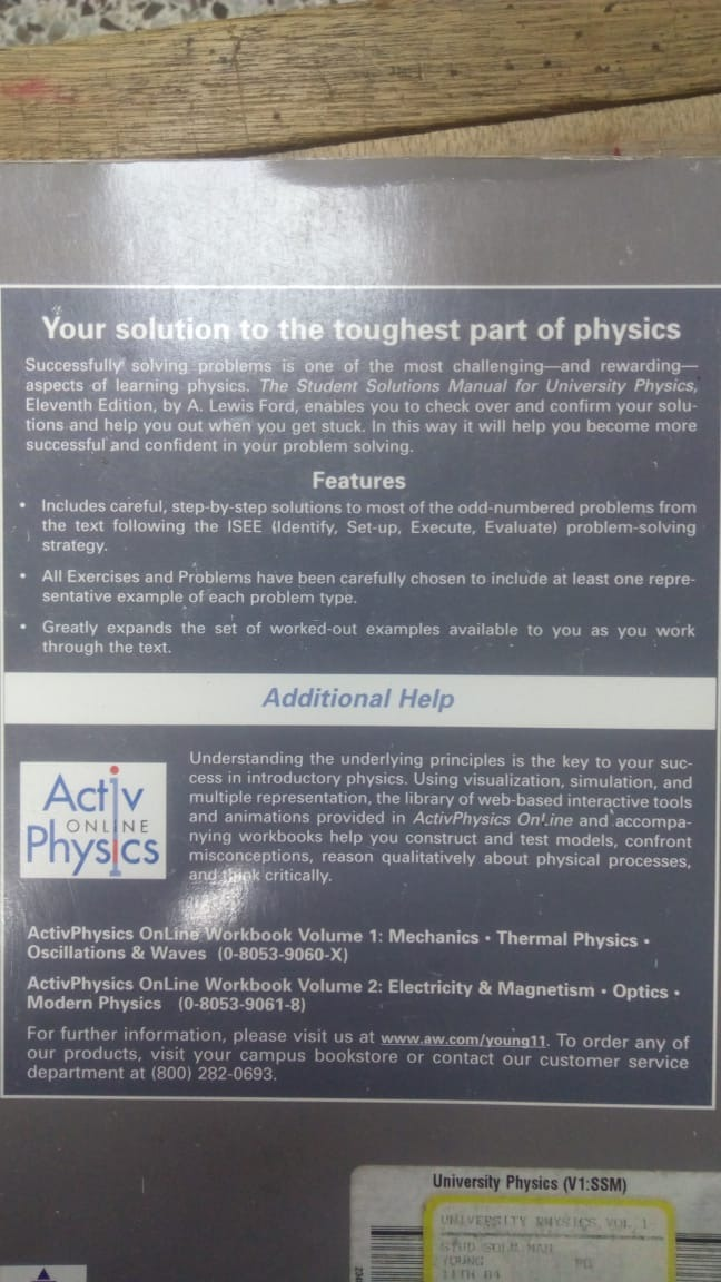 Solutions Manual University Physics Vol 1 - Sears 11 Ed - $ 70 000