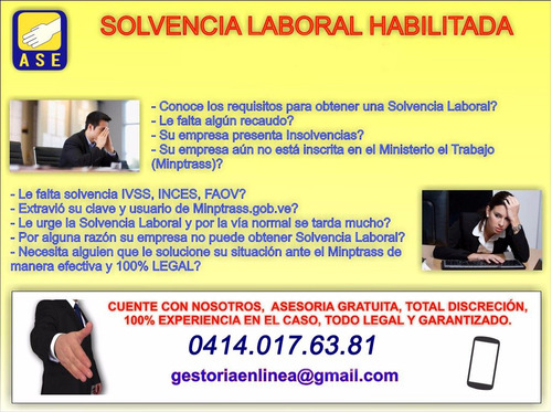 solvencia laboral, inces, faov. ivss, inscripcion, sada lega