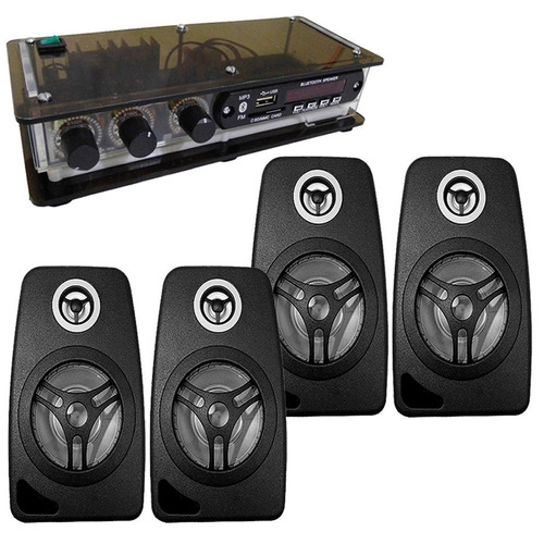 som ambiente c/ receiver xtr mp3 bt usb + 4 caixas de som