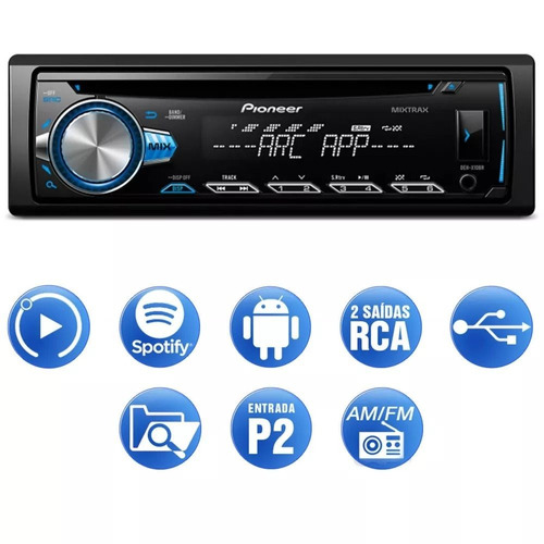 som mp3 cd pioneer deh-x10br usb mixtrax android e iphone